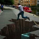 Peinture 3d : le saut de la mort