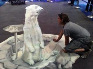 Peinture 3d : ours blanc