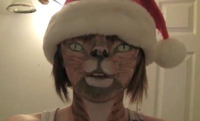 fille chat noel