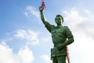 Urban knitting statue