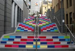 Yarn bombing sur escalier