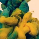 sculpture encre eau jaune et verte