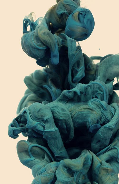 Sculpture encre et eau bleue grise