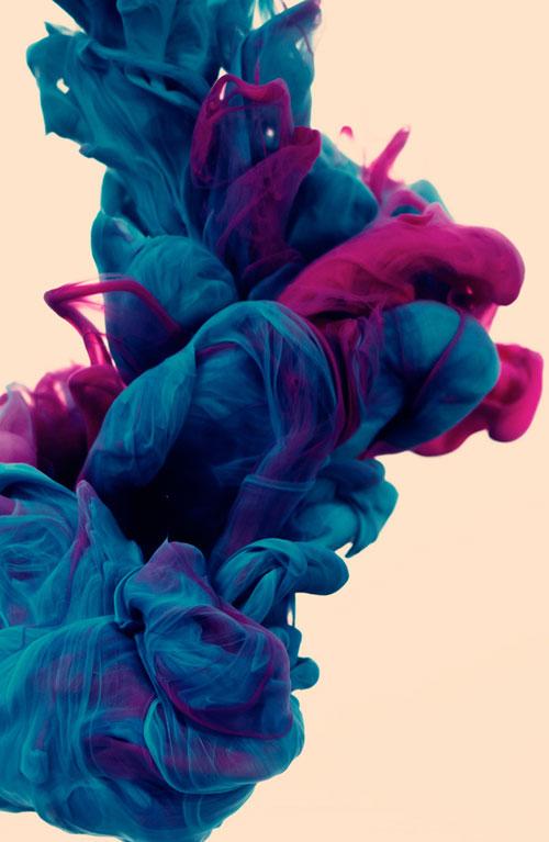 Sculpture encre et eau violette bleue et rose