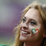 Supportrice irlandaise maquillée