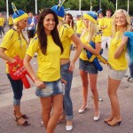 Supportrices suédoises avant match