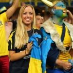 Supportrice suédoise en pleine action !
