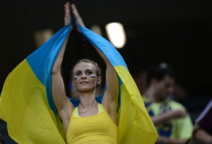 Supportrice ukrainienne en action