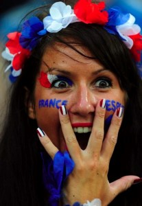 Supportrice bleu blanc rouge