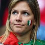 Supportrice de l'Italie fait la tête