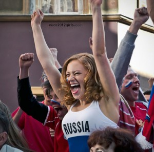 Supportrice russe heureuse