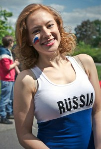 Supportrice russe athlétique