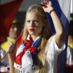 Supportrice russe blonde
