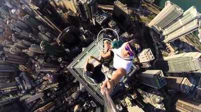 selfie sur gratte-ciel